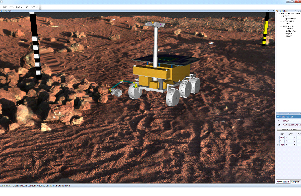 A Mars rover on the stony surface of Mars.