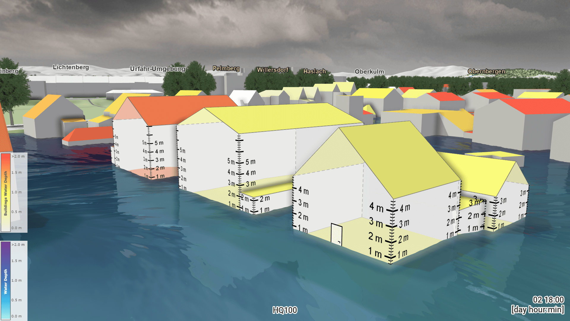 Visualization of a flood scenaria by Visdom