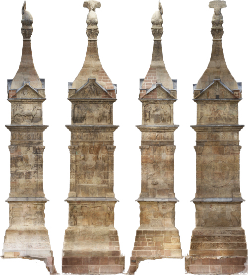 Four columns of an ancient Roman tomb, reconstructed in 3D from aerial photographs.
